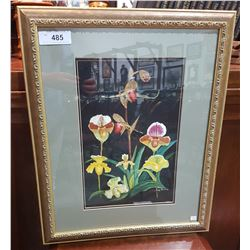 SIGNED WATERCOLOUR OF FLOWERS