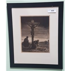 FRAMED LITHOGRAPH OF THE CRUCIFIXION