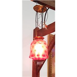VICTORIAN CRANBERRY GLASS HANGING LIGHT