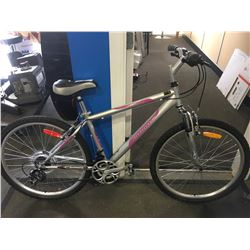 PINK AND SILVER INFINITY WOMENS MOUNTAIN BIKE