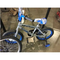 BLUE AND GREY ROAD RACER CHILDS BIKE