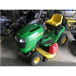 "JOHN DEER L110 RIDE ON LAWN MOWER WITH 42"" DECK, 426 HOURS"