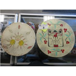 2 DECORATIVE NATIVE STYLE ART DRUMS