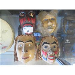 4 NATIVE STYLE ART MASKS