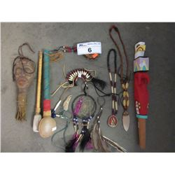 COLLECTION OF NATIVE STYLE ART PIECES (DREAM CATCHER, RATTLES, ETC)