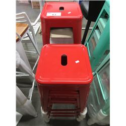 7 RED HIGH TOP STOOLS
