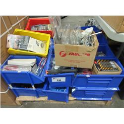 APPROX 22 BINS OF NEW ASSORTED PLYERS/CARTRIDGES/TAPE MEASURES/ETC