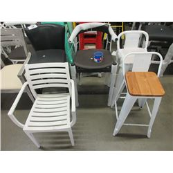 2 LEATHER BAR STOOLS/DECK CHAIR/2 OVER HEIGHT STOOLS