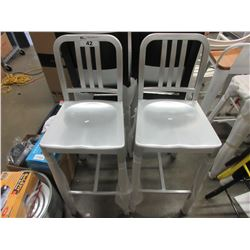 2 POLISHED ALUMINUM BAR STOOLS