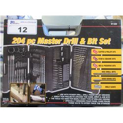 NEW 204 PC MASTER DRILL & BIT SET