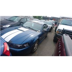 1999 FORD MUSTANG, 2DRCP, BLUE, GAS, AUTOMATIC, VIN#1FAFP4041XF218140, 309,762KMS, RD,CD,PW,TW,AC,
