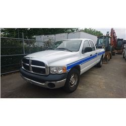 2004 DODGE RAM 1500, 4DOOR PICKUP, WHITE, GAS, AUTOMATIC, VIN#1D7HA18N84J254082, 188,105KMS,