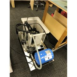 FLOJET AUTOMATIC BOOSTER PUMP AND PRESSURIZED BLADDER TANK SYSTEM, ON CART WITH RESERVOIR