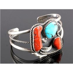 Signed Navajo Sterling Silver Turquoise Coral Cuff