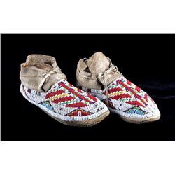 Sioux Fully Beaded Moccasins 1890-1910 Sinew Sewn
