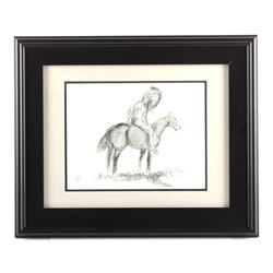 Original Jay Contway Framed Charcoal Sketch