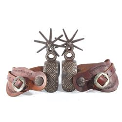Hand Forged Silver Mounted Charro Spurs c.1900's