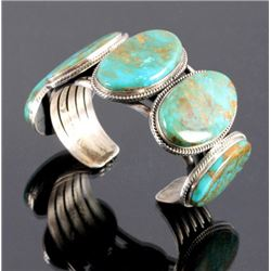Navajo Sterling Silver Turquoise Cuff