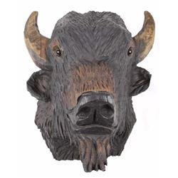 Hand Carved Solid Wood American Bison Head