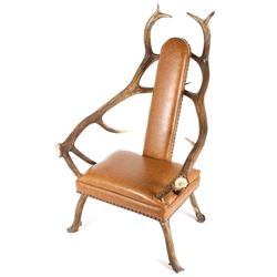 ... Rustic 7x7 Montana Elk Antler Leather Lounge Chair