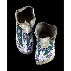 Sioux Sinew Sewn Beaded Moccasins Circa 1890