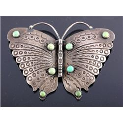 Navajo Sterling Silver Turquoise Butterfly Brooch