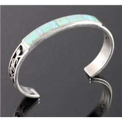 Signed Navajo Sterling Silver Turquoise Opal Cuff
