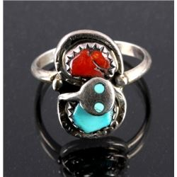 Effie C. Zuni Sterling Silver Turquoise Coral Ring