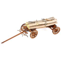Folk Art Intricate Log Carrier Wagon RARE