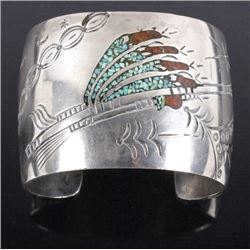Signed Navajo Turquoise & Coral Chip Inlay Cuff