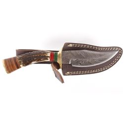 Demascus Drop Point Knife w/ Stag Antler Handle