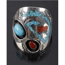 Signed Navajo Sterling, Turquoise & Coral Ring
