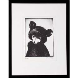 """Olive Fell """"Me"""" Little Cub Bear Etching c. 1930's"""