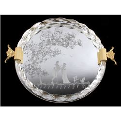 Ornate Etched Vecchia Murano Glass Tray