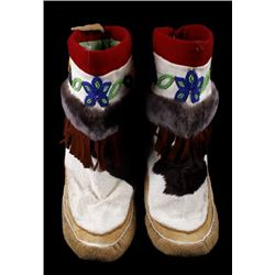 Native American Indian High-Top Beaded Moccasins