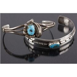 Pair of Navajo Silver & Turquoise Petit Bracelets