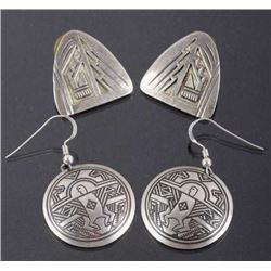 Native American Engraved Sterling Earrings (2)