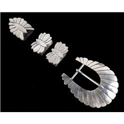 Navajo Sterling Silver Ranger Belt Buckle Set