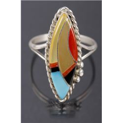 Zuni Inlaid Mosaic Multi-Stone & Sterling Ring