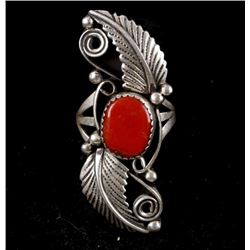 Navajo Oxblood Coral & Sterling Silver Ring