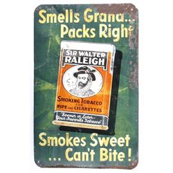 Sir Walter Raleigh Embossed Tin Lithograph Sign