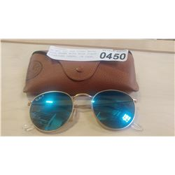 517b81d566 AS NEW RAY BAN ROUND METAL GOLD FRAME WITH BLUE FLASH POLARIZED LENSE