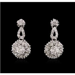 0.84 ctw Diamond Earrings - 14KT White Gold