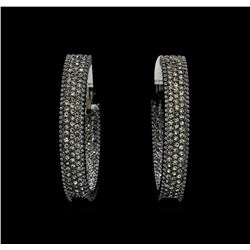 6x38mm Crystal Hoop Earrings - Black Rhodium