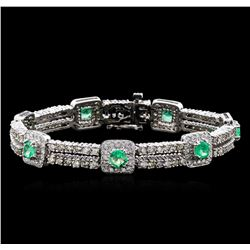2.84 ctw Emerald and Diamond Bracelet - 14KT White Gold