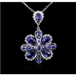 14KT White Gold 18.01 ctw Tanzanite and Diamond Pendant With Chain