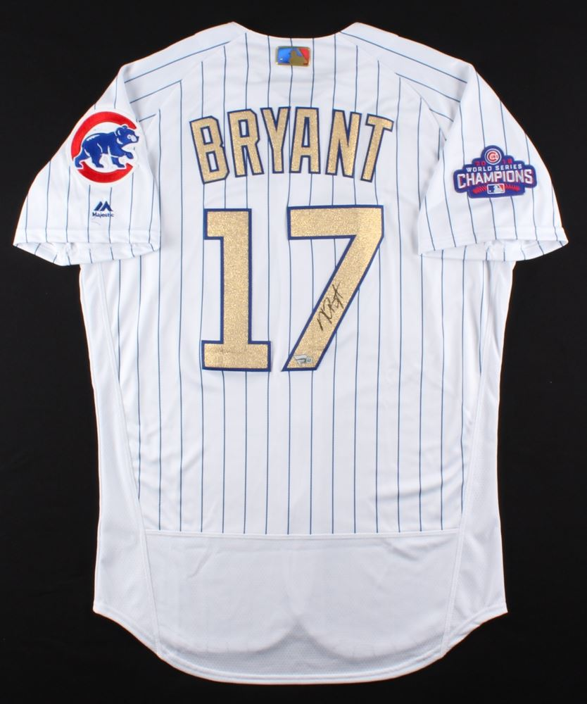 Image 1   Kris Bryant Signed Cubs Majestic Authentic Gold Jersey (MLB  Fanatics Hologram) 4e9d281e5