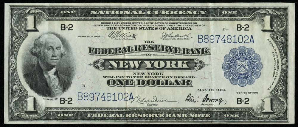 Image 1 1918 One Dollar U S National Currency The Federal Reserve Bank Of