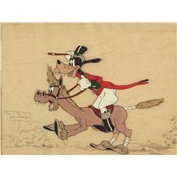"""""""Goofy"""" production cel on a studio prepared background drawing from How to Ride a Horse."""