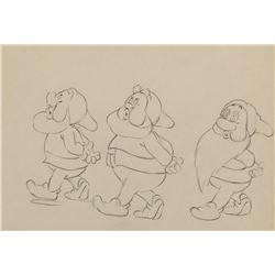 """Happy"", ""Sleepy"" and ""Sneezy"" production drawing from Snow White and the 7 Dwarfs."